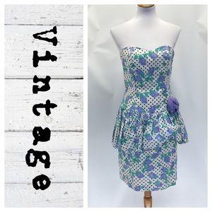 Vintage 80's Peplum strapless dress